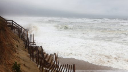 Waves hit the beach during the hurricanes.